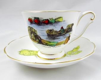 Vintage Queen Anne Tea Cup and Saucer Souvenir of Nova Scotia, Bone China