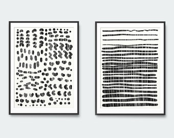 Set of 2 Prints, Abstract Art, Abstract Printable Art, Black and White Art Prints, digital downloads, Minimal Wall Art