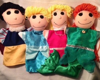 Disney inspired princess puppets: Snow White, Cinderella, Sleeping Beauty, Ariel