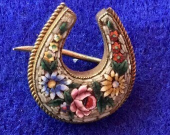Victorian Venetian Micro Mosaic Lucky Horseshoe Brooch.