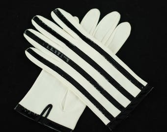 Vintage Hansen White Gloves with Black Patent Leather Stripes and Trim