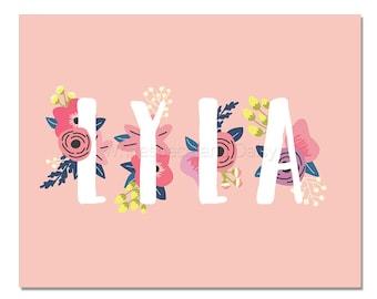 Lyla Baby Name Wall Art Lyla Baby Name Sign Lyla Party Printable Lyla Party Decorations Lyla Art