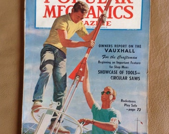 Popular Mechanics Magazine 1958 / Rocketeers / Iron Men / Lawn Mower Races