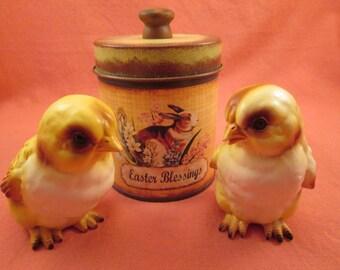 Vintage Lefton Porcelain Bisque Chicks - Easter