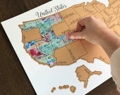 Teal Tinted Travels - United States of America (USA US) Watercolor Scratch Map