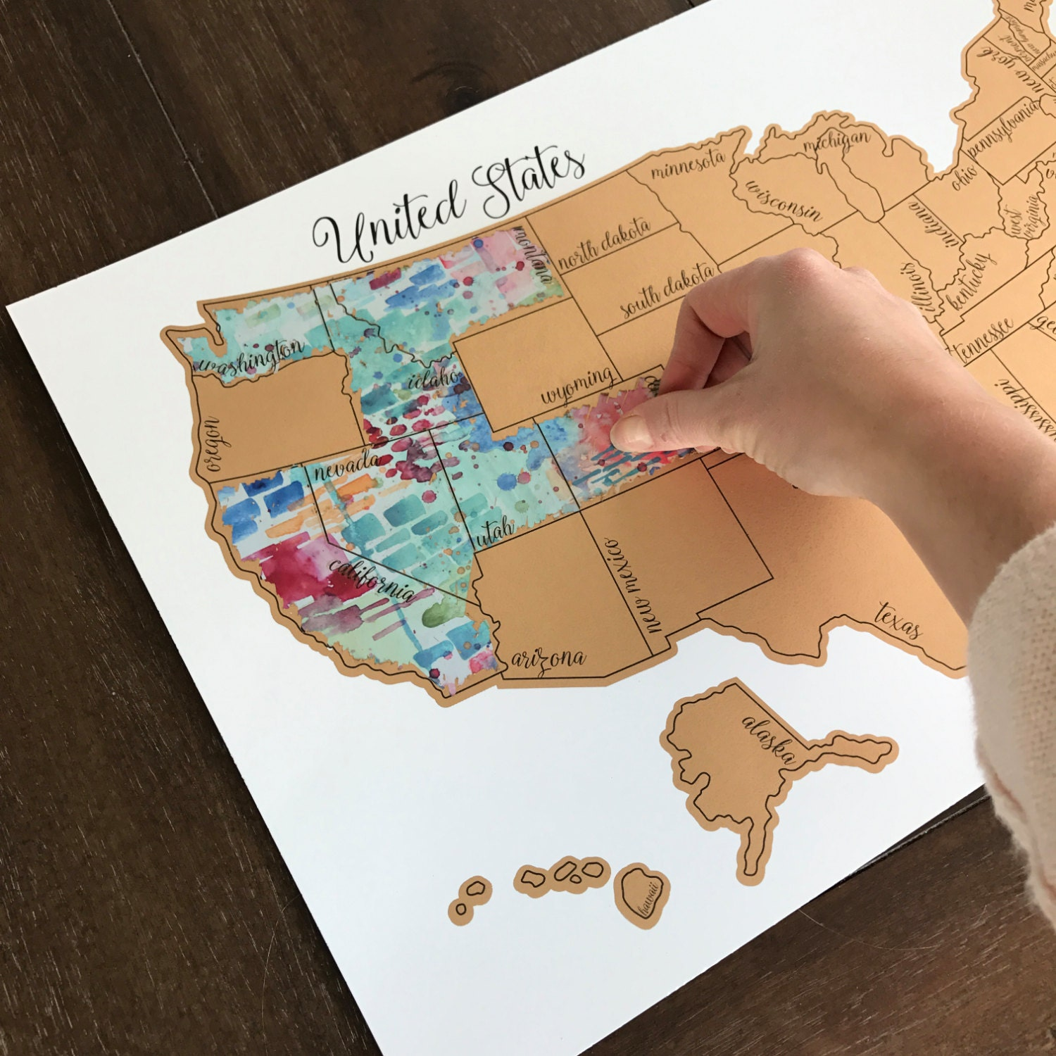Teal Tinted Travels United States Of America USA US Watercolor - Full map of us