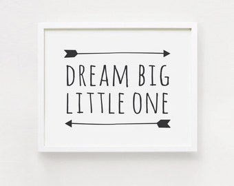 10x8, 36x24 inch Dream big little man Printable landscape quotes Poster Black and White simple word Cute Nursery Wall art INSTANT DOWNLOAD
