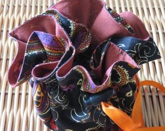 Jewelry Travel/Storage Tote Black & Orange Paisley Drawstring Handmade