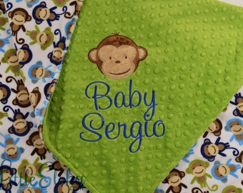 Personalized Baby Blanket, Minky Blanket, Personalized Name Blanket, Name and Monkey Applique, Choose your colors, Choose your size.