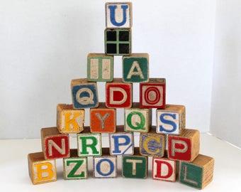 Alphabet Blocks, Vintage ABC's, Wooden Letter Blocks, Vintage Toys for Toddlers, Collectible Building Blocks,  Set of 22