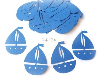 Blue 2in Sailboat Cut outs, Die cut, Confetti, Embellishments or CHOOSE YOUR COLORS - Set of 50pcs, 100pcs