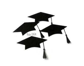 Graduation Hat Cut outs, Black Grad Confetti - or Choose Your Colors