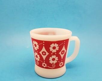 Rare Fire King Mug, Anchor Hocking Rare Design, Red Mug