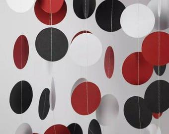 Circle Garland in Red, White and Black, Wedding Decor, Birthday Decor, Wedding Garland, Bridal Shower Ideas, Bachelorette Decorations