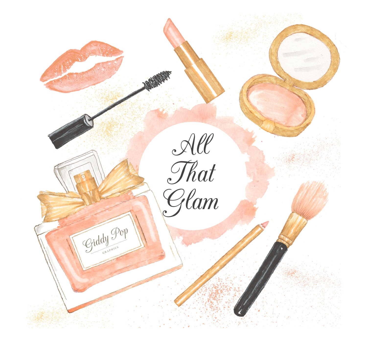 watercolor makeup clipart cosmetic clipart fashion