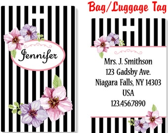 Personalized LuggageTag, Double-sided Bag Tags, Floral BagTag, Floral Luggage Tag, Floral Laptop bag tag, Floral ID Tag, Floral - FLORAL1