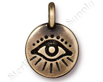 TierraCast Evil Eye Charm, Brass Ox-Plated Lead Free Pewter, Strength and Beauty Collection, Authorized Dealer, Fast Shipping (T376)