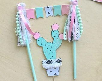 Boho cactus fiesta pink mint black white tribal triangle bunting banner tassel cake topper birthday cactus decor