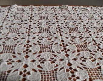 Antique Hand-embroidered lace, tablecloth, doily  -two parts