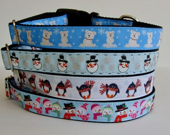 READY TO SHIP! Christmas Dog Collars Polar Bear, Snowman, Penguin - Blue