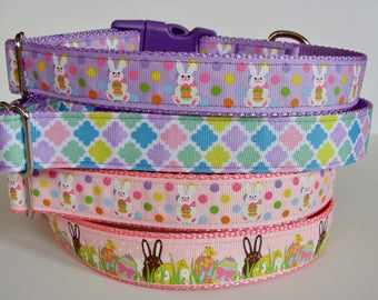 Easter Dog Collars - Easter Bunny, Pastel Pink & Purple - READY TO SHIP!