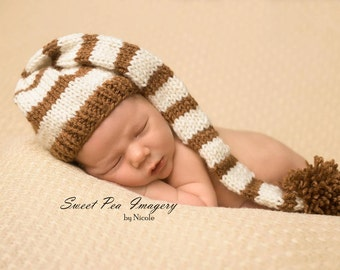 Newborn Photo Prop Hat/Long Tail/Stocking/Elf/Knitted/Stripes/Girl/Boy-MADE TO ORDER