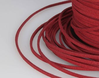 Red Suede Cord, 3x1mm; Soft Micro Fiber Faux Leather Velvet Suede Flat Lace, Cord, Thread, String, Rope; 100 Yard; Jewelry Making