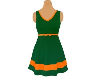 Green + Orange Skater Dress