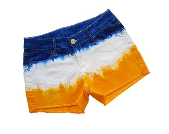 Blue or Navy and Bright Gold Tie-Dye Shorts