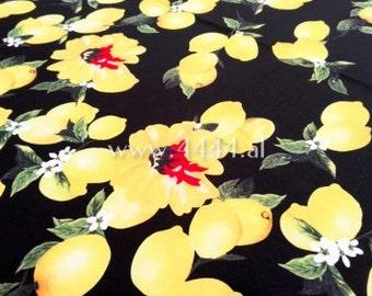 Black lemon linen fabric #3334