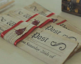 150 Newspaper hand aged invitations