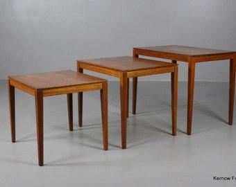 Nest Danish Bent Silberg Mobler Teak Side Tables