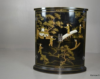 Oriental Black Lacquer Corner Cupboard