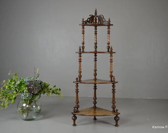 Antique Victorian Ornate Inlaid Walnut Corner Whatnot Shelving