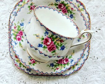 Royal Albert Petit Point bone china trio- teacup, saucer and side/cake plate