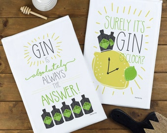 Gin Tea Towels - Choose Your Design