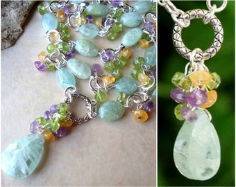 Aquamarine Cluster Necklace.Multi Gemstone.Statement.Citrine.Bridal.Amethyst.Peridot.Mother's.Blue.Birthday.Pastel.Beaded.Gift.Handmade.