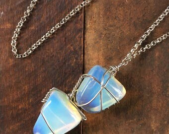 Wire Wrapped Opalite Necklace