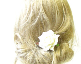 Ivory White Rose Flower Hair Pin Bridal Bridesmaid Clip Floral Vintage 50s 1260