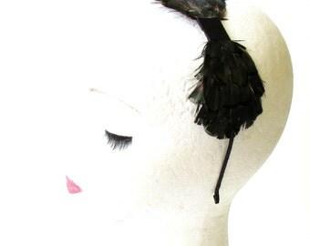Dark Green Black Lady Amherst Pheasant Feather Headband Fascinator 40s Vtg 1283