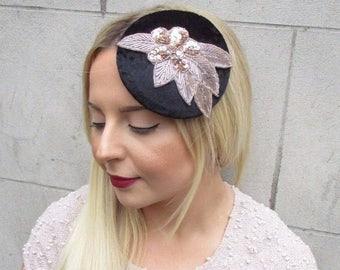 Rose Gold Black Velvet Sequin Fascinator Hat Races Headpiece Hair Clip Vtg 2679