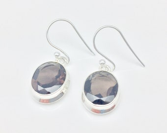 Smokey Quartz Earrings // 925 Sterling Silver // Simple Oval Setting // Smokey Topaz Earrings