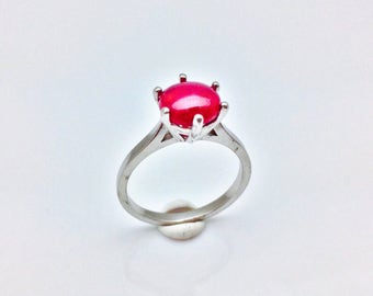 Ruby Ring // 925 Sterling Silver // Simple Prong Setting // Natural Ruby Ring