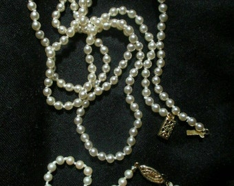 "Vintage Small Glass Pearl Necklace 30"" Long Knotted Bracelet Gold Tone Jewelry Set Lot Box Clasp Bride Prom Pageant Pearls Like New!! NICE!"