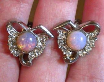 Opal earrings fire opal screw back earrings  opal earrings rhinestone opal earrings vintage opal earrings round screw on earrings silvertone