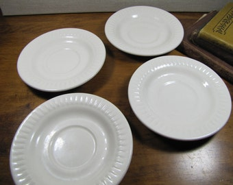 American Commercial China Co. - Creamy White Saucers - Ribbed Lip - Made in U.S.A. - Set of Four (4)