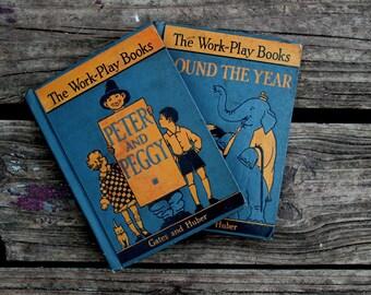 Vintage School Primer & Reader Sets- MacMillan Work and Play Books,Primer and First Reader, 1937
