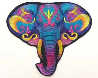 Embroidered Elephant  Patch, Vibrant Iron On Elephant Patch, Elephant Patch, Large Patch, Home Decor Patch, Elephant Pillow, Jacket Patch