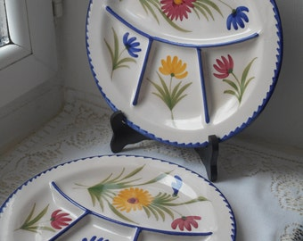 two vintage French hand painted saint Clement porcelain divider / fondue plate