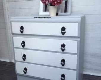 Drawers, chest of drawers, grey, retro, storage, bedroom furniture